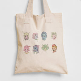 Vintage Style Halloween Monsters Tote Bag| Canvas tote| Shopping bag | Grocery Bag | Monsters | Gift for her